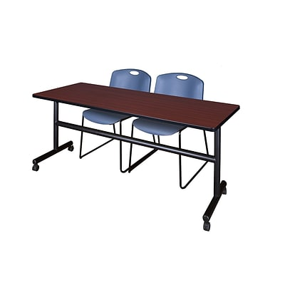 Regency Kobe 72 Flip Top Mobile Training Table- Mahogany & 2 Zeng Stack Chairs- Blue