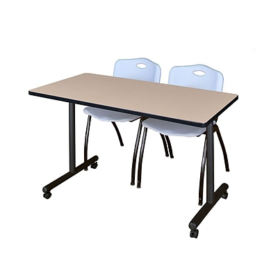 Regency Kobe 42 x 24 Mobile Training Table- Beige & 2 M Stack Chairs- Grey [MKTRCC42BE47GY]
