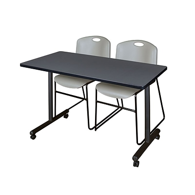 Regency Kobe 42 x 24 Mobile Training Table- Grey & 2 Zeng Stack Chairs- Grey [MKTRCC42GY44GY]