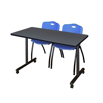 Regency Kobe 42 x 24 Mobile Training Table- Grey & 2 M Stack Chairs- Blue [MKTRCC42GY47BE]