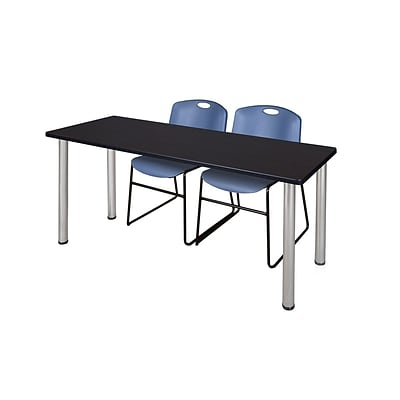 Regency Kee 60 x 24 Training Table- Mocha Walnut/ Chrome & 2 Zeng Stack Chairs- Blue [MT60MWBPCM44BE]