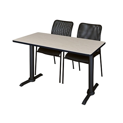 Regency Cain 42 x 24 Training Table- Maple & 2 Mario Stack Chairs- Black