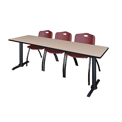 Regency Cain 84 x 24 Training Table- Beige & 3 M Stack Chairs- Burgundy