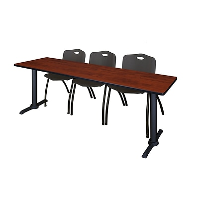 Regency Cain 84 x 24 Training Table- Cherry & 3 M Stack Chairs- Black