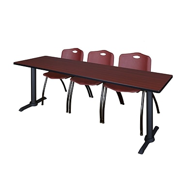 Regency Cain 84 x 24 Training Table- Mahogany & 3 M Stack Chairs- Burgundy