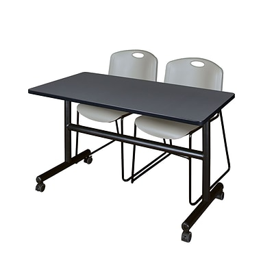 Regency Kobe 48 Flip Top Mobile Training Table- Grey & 2 Zeng Stack Chairs- Grey