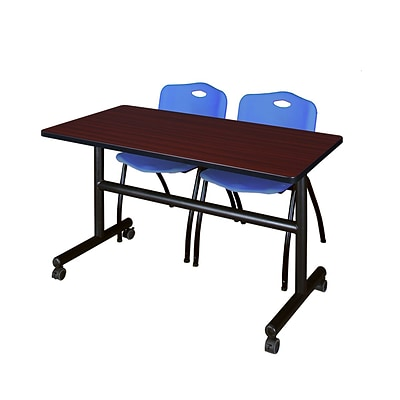Regency Kobe 48 Flip Top Mobile Training Table- Mahogany & 2 M Stack Chairs- Blue