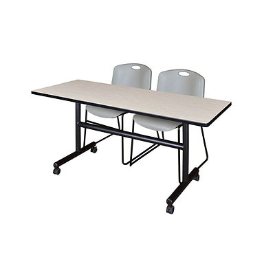 Regency Kobe 60 Flip Top Mobile Training Table- Maple & 2 Zeng Stack Chairs- Grey