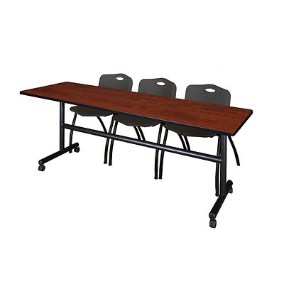 Regency Kobe 84 Flip Top Mobile Training Table- Cherry & 3 M Stack Chairs- Black