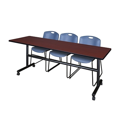 Regency Kobe 84 Flip Top Mobile Training Table- Mahogany & 3 Zeng Stack Chairs- Blue