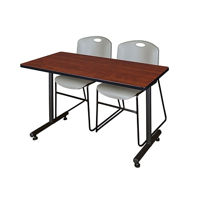 Regency Kobe 42 x 24 Training Table- Cherry & 2 Zeng Stack Chairs- Grey [MKTRCT42CH44GY]