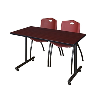 Regency Kobe 42 x 24 Training Table- Mahogany & 2 M Stack Chairs- Burgundy [MKTRCT42MH47BY]