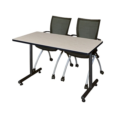 Regency Kobe 42 x 24 Training Table- Maple & 2 Apprentice Chairs- Black [MKTRCT42PL09BK]