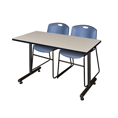 Regency Kobe 42 x 24 Training Table- Maple & 2 Zeng Stack Chairs- Blue [MKTRCT42PL44BE]