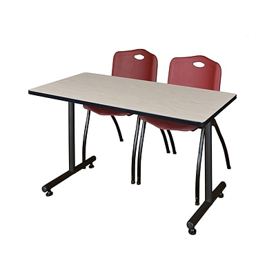 Regency Kobe 42 x 24 Training Table- Maple & 2 M Stack Chairs- Burgundy [MKTRCT42PL47BY]
