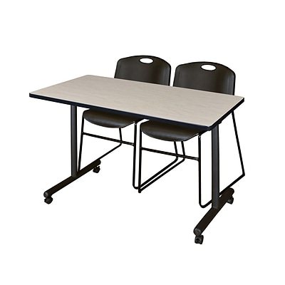 Regency Kobe 42 x 24 Mobile Training Table- Maple & 2 Zeng Stack Chairs- Black [MKTRCC42PL44BK]