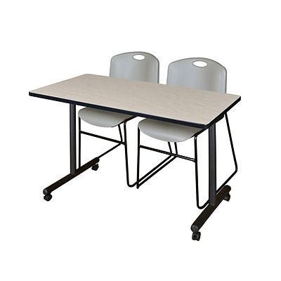 Regency Kobe 42 x 24 Mobile Training Table- Maple & 2 Zeng Stack Chairs- Grey [MKTRCC42PL44GY]