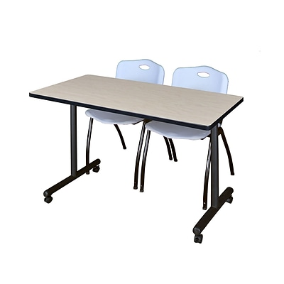 Regency Kobe 42 x 24 Mobile Training Table- Maple & 2 M Stack Chairs- Grey [MKTRCC42PL47GY]