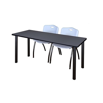 Regency Kee 60 x 24 Training Table- Grey/ Black & 2 M Stack Chairs- Grey [MT60GYBPBK47GY]