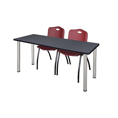 Regency Kee 60 x 24 Training Table- Grey/ Chrome & 2 M Stack Chairs- Burgundy [MT60GYBPCM47BY]