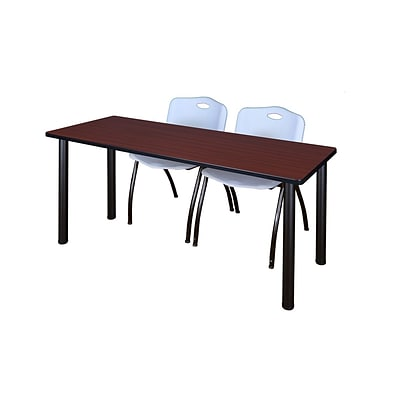 Regency Kee 60 x 24 Training Table- Mahogany/ Black & 2 M Stack Chairs- Grey [MT60MHBPBK47GY]