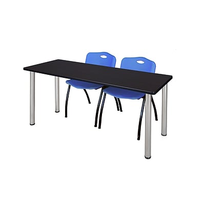 Regency Kee 60 x 24 Training Table- Mocha Walnut/ Chrome & 2 M Stack Chairs- Blue [MT60MWBPCM47BE]