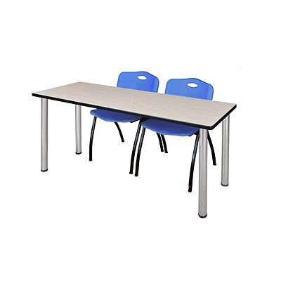 Regency Kee 60 x 24 Training Table- Maple/ Chrome & 2 M Stack Chairs- Blue [MT60PLBPCM47BE]