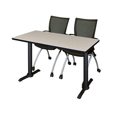 Regency Cain 42 x 24 Training Table- Maple & 2 Apprentice Chairs- Black