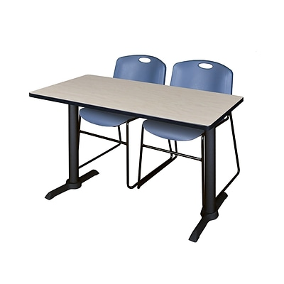 Regency Cain 42 x 24 Training Table- Maple & 2 Zeng Stack Chairs- Blue