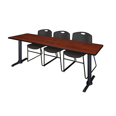 Regency Cain 84 x 24 Training Table- Cherry & 3 Zeng Stack Chairs- Black
