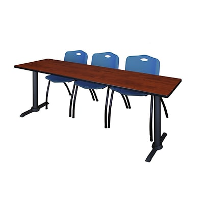 Regency Cain 84 x 24 Training Table- Cherry & 3 M Stack Chairs- Blue