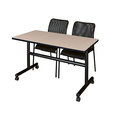 Regency Kobe 48 Flip Top Mobile Training Table- Beige & 2 Mario Stack Chairs- Black