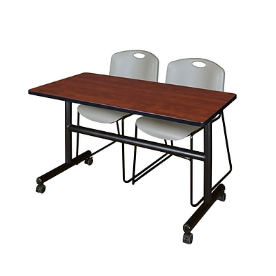 Regency Kobe 48 Flip Top Mobile Training Table- Cherry & 2 Zeng Stack Chairs- Grey