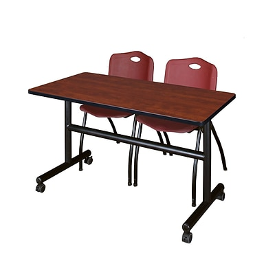 Regency Kobe 48 Flip Top Mobile Training Table- Cherry & 2 M Stack Chairs- Burgundy