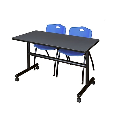 Regency Kobe 48 Flip Top Mobile Training Table- Grey & 2 M Stack Chairs- Blue