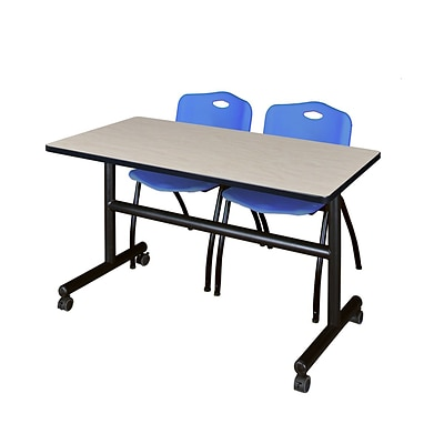 Regency Kobe 48 Flip Top Mobile Training Table- Maple & 2 M Stack Chairs- Blue