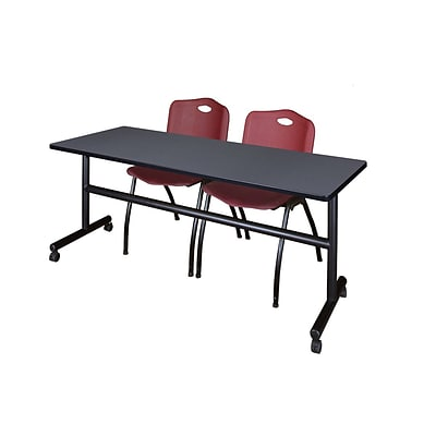 Regency Kobe 72 Flip Top Mobile Training Table- Grey & 2 M Stack Chairs- Burgundy