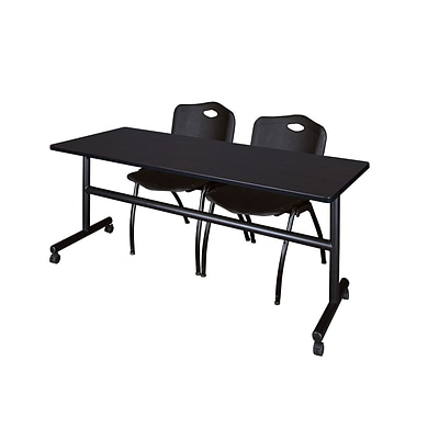 Regency Kobe 72 Flip Top Mobile Training Table- Mocha Walnut & 2 M Stack Chairs- Black