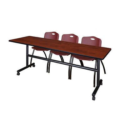 Regency Kobe 84 Flip Top Mobile Training Table- Cherry & 3 M Stack Chairs- Burgundy
