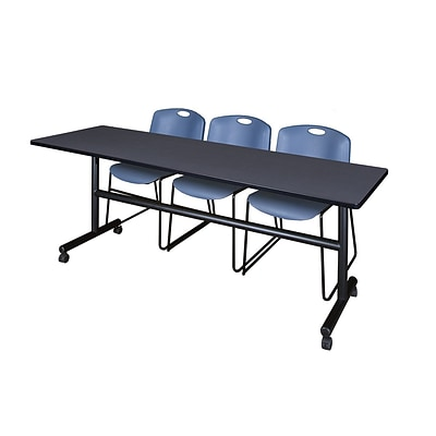 Regency Kobe 84 Flip Top Mobile Training Table- Grey & 3 Zeng Stack Chairs- Blue