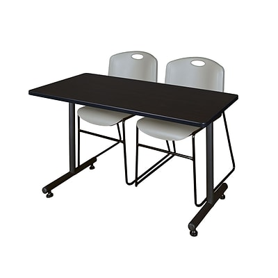 Regency Kobe 42 x 24 Training Table- Mocha Walnut & 2 Zeng Stack Chairs- Grey [MKTRCT42MW44GY]
