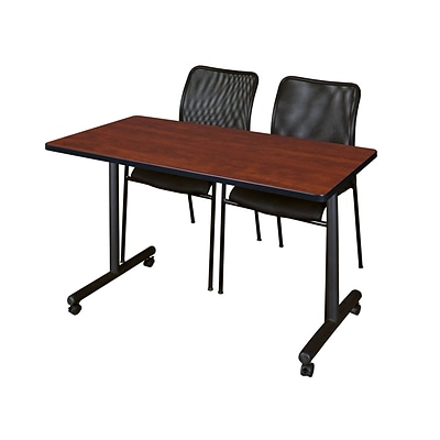 Regency Kobe 42 x 24 Mobile Training Table- Cherry & 2 Mario Stack Chairs- Black [MKTRCC42CH75BK]
