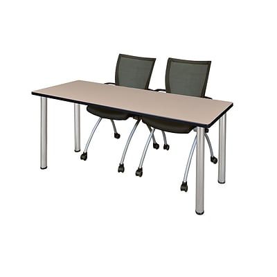 Regency Kee 60 x 24 Training Table- Beige/ Chrome & 2 Apprentice Chairs- Black [MT60BEBPCM09BK]