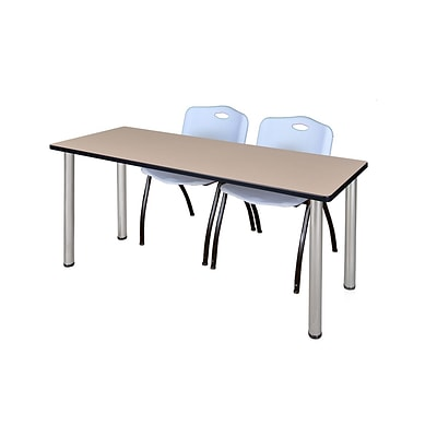 Regency Kee 60 x 24 Training Table- Beige/ Chrome & 2 M Stack Chairs- Grey [MT60BEBPCM47GY]