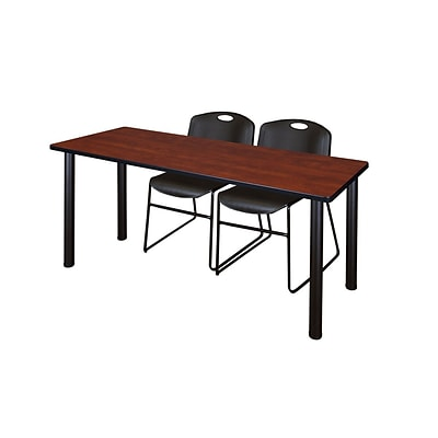 Regency Kee 60 x 24 Training Table- Cherry/ Black & 2 Zeng Stack Chairs- Black [MT60CHBPBK44BK]