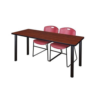 Regency Kee 60 x 24 Training Table- Cherry/ Black & 2 Zeng Stack Chairs- Burgundy [MT60CHBPBK44BY]