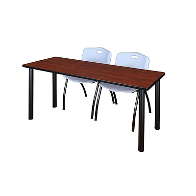 Regency Kee 60 x 24 Training Table- Cherry/ Black & 2 M Stack Chairs- Grey [MT60CHBPBK47GY]