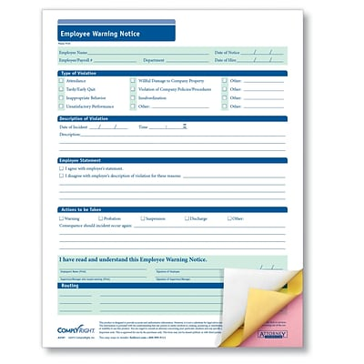 ComplyRight Employee Warning Notice, 3-Part, Carbonless, Pack of 50 (A2191)