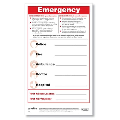 ComplyRight Emergency Numbers Safety Poster and Pen Set (N2606)