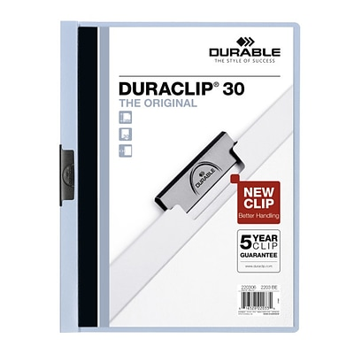 Durable Duraclip® Clear Front Report Cover with 30-Sheet Capacity, Light Blue Back Cover